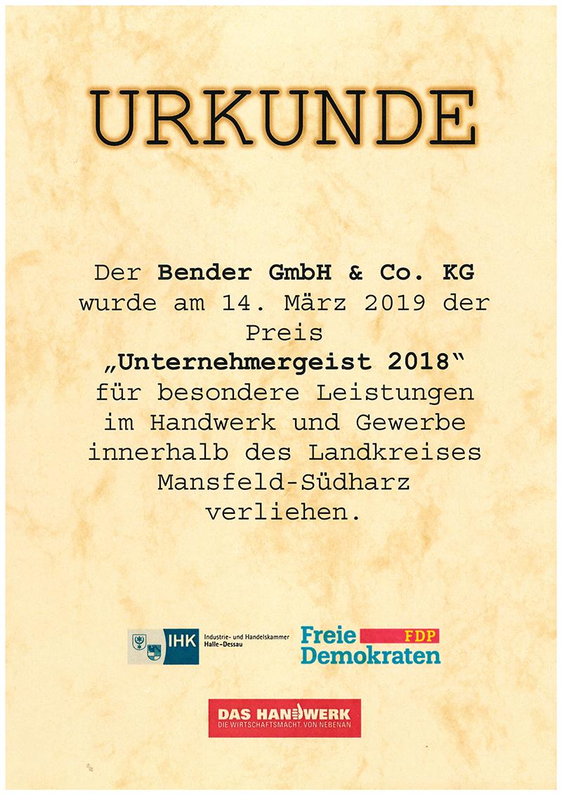 """Bender erhält Auszeichnung """"Unternehmergeist Mansfeld-Südharz 2018"""""""