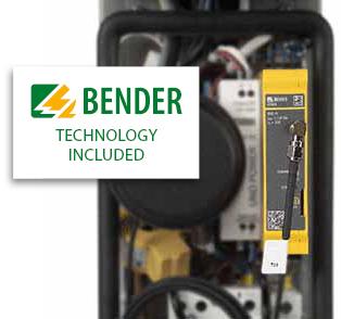 """Ladesäule mit Zeichen """"Bender technology included"""""""