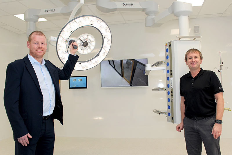 Managing Director Gareth Brunton with Hospital Operations Leader Steve Helling in the new operating theatre demonstration room at Bender UK