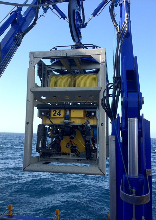 Film Ocean's Comanche ROV launching during recent project